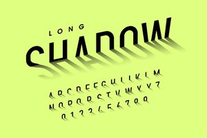 Long shadow style font example