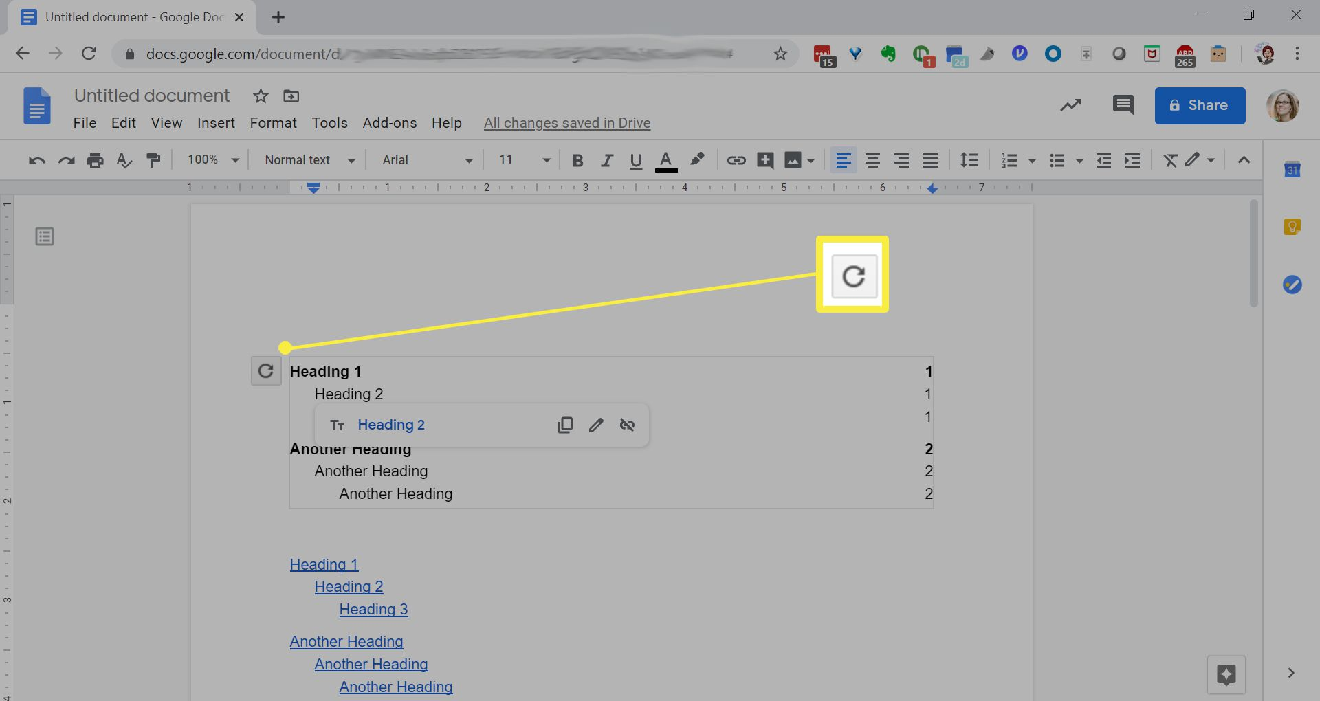 Editing a table of contents in Google Docs.