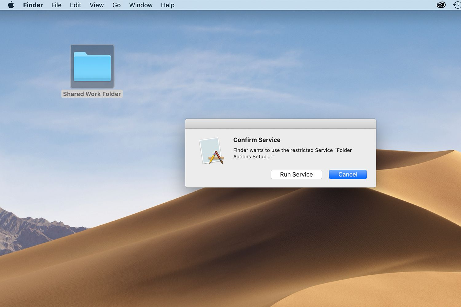Confirm Service window for folder actions on a Mac