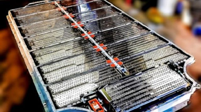 Tesla S Model battery modules linked together to form a Tesla S Model battery.