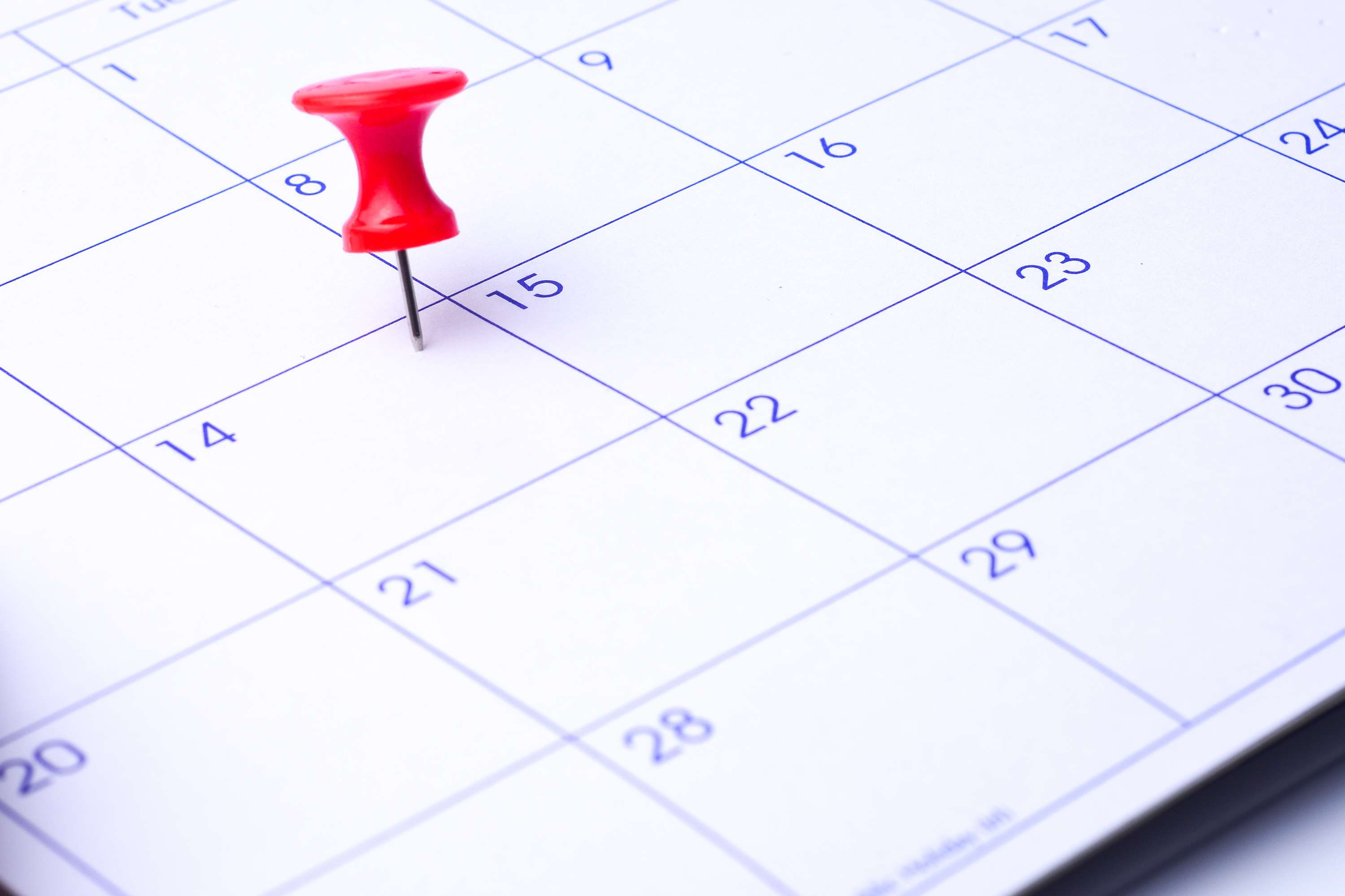 Close-Up High Angle View Of Thumbtack On Calendar Date
