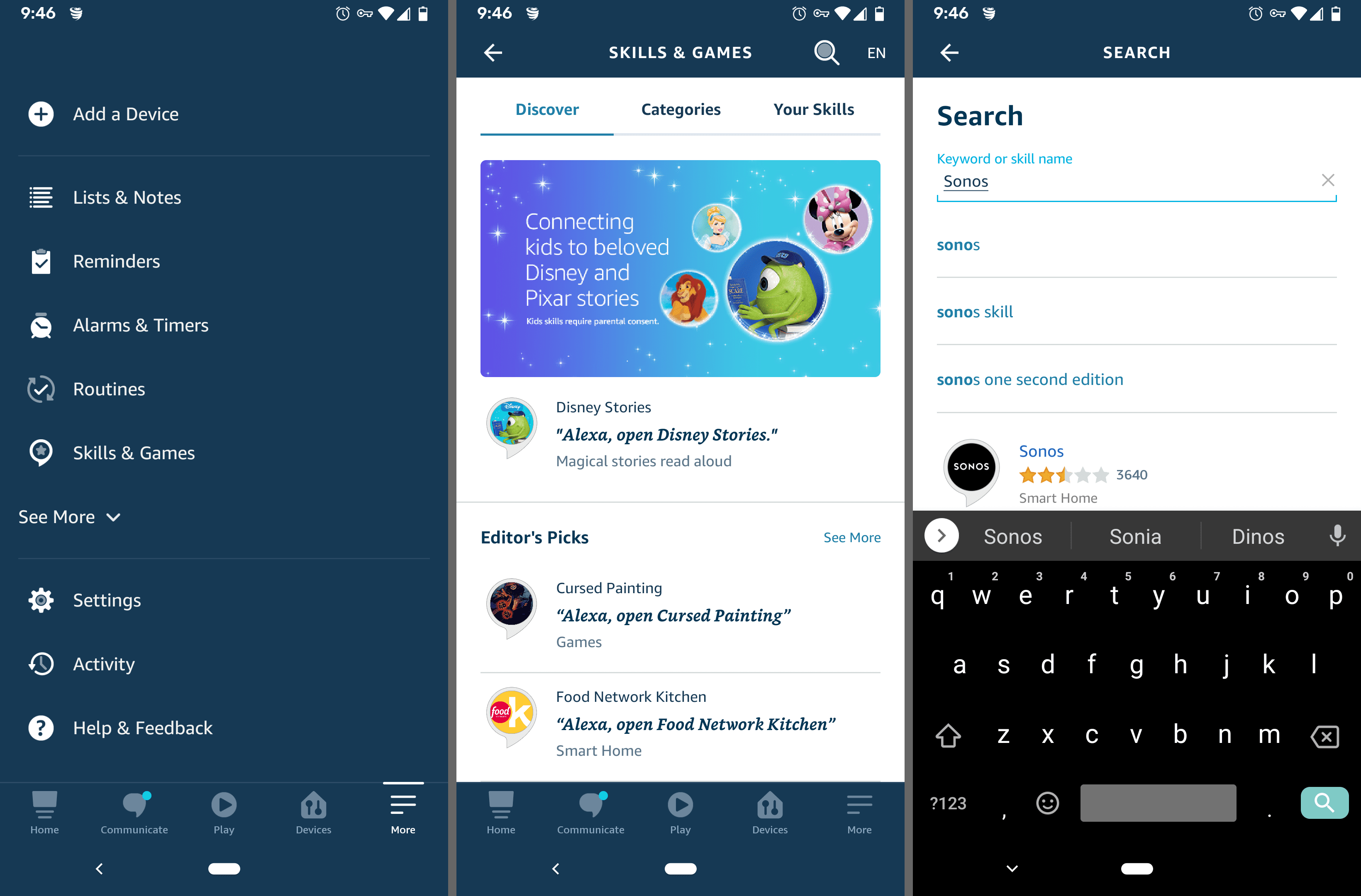 Alexa Android app menu and search screens