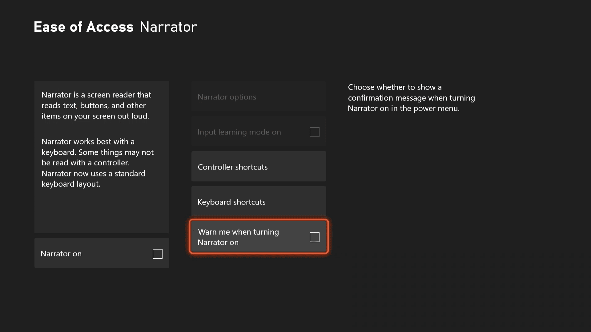 Setting the narrator warning on Xbox Series X|S.
