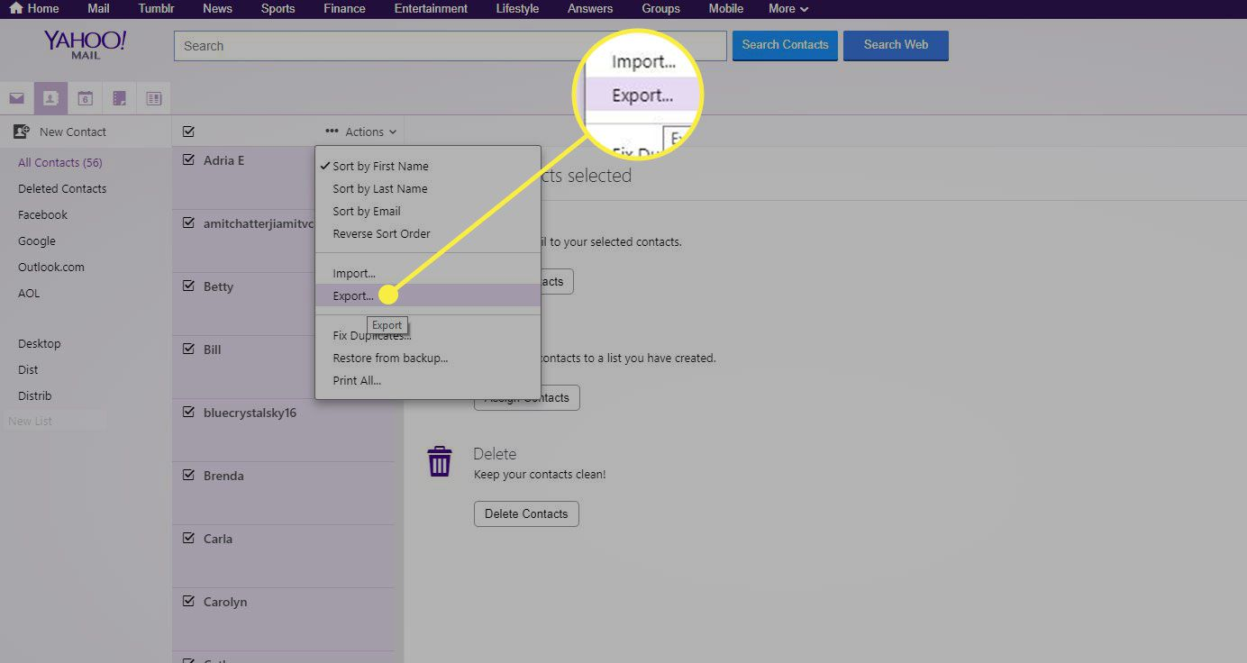 A screenshot of Yahoo Mail Contacts with the Export command highlighted