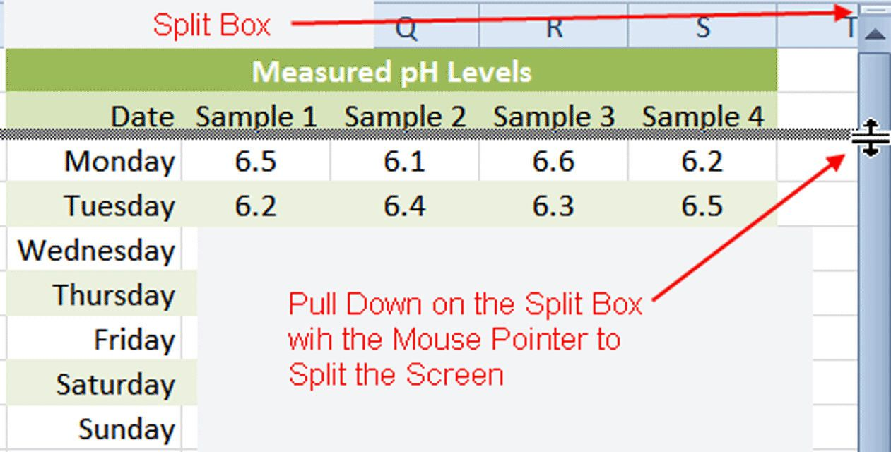View Multiple Copies of a Worksheet using the Split Box in Excel