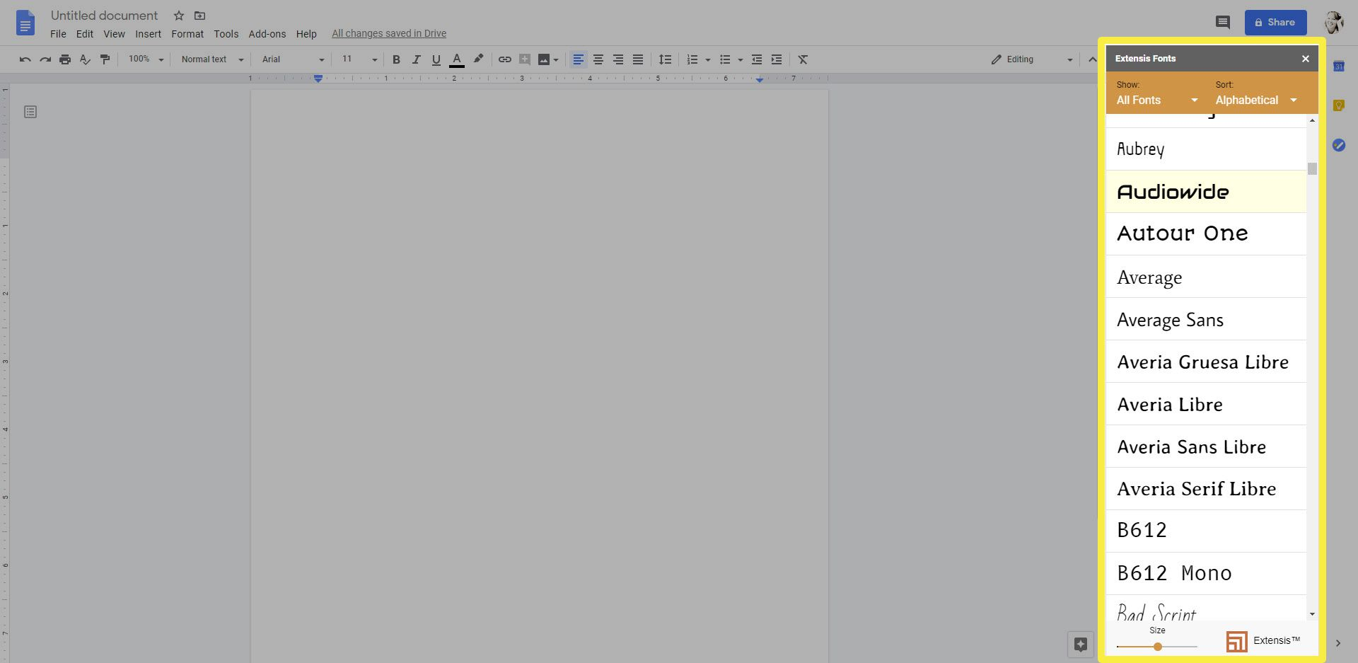 A screenshot showing the Extensis Fonts add-on on the right side of Google Docs.