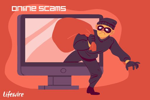 Burglar leaving a computer monitor with a full sack - Online Scams