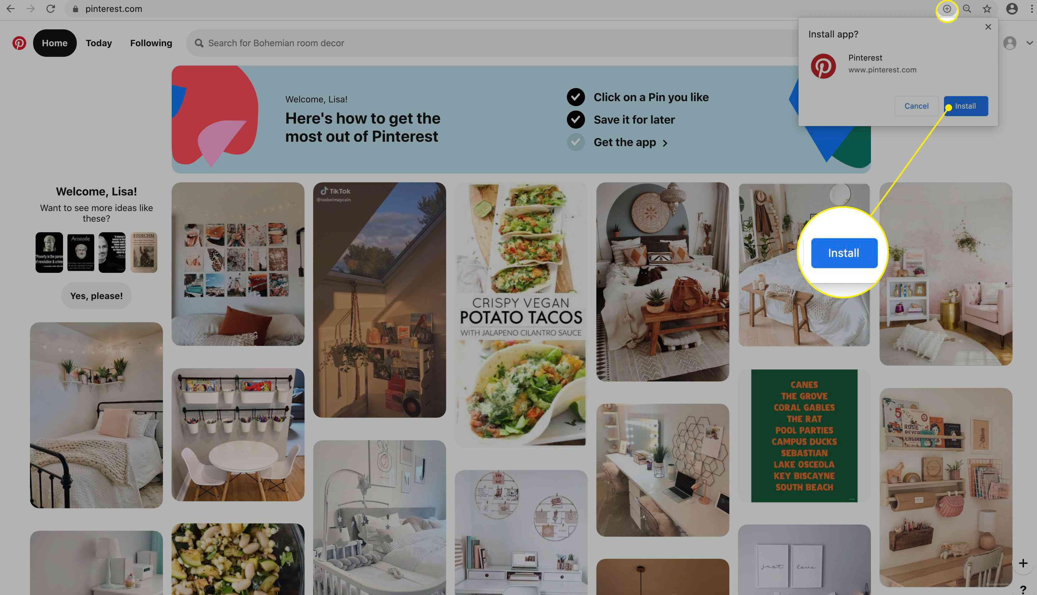The Install button for the Pinterest browser button