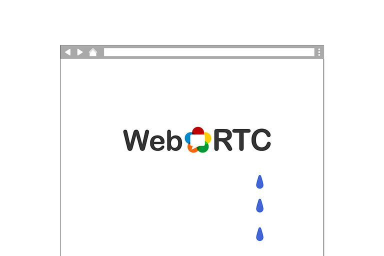 WebRTC logo in an abstract browser, with three water drops falling from it