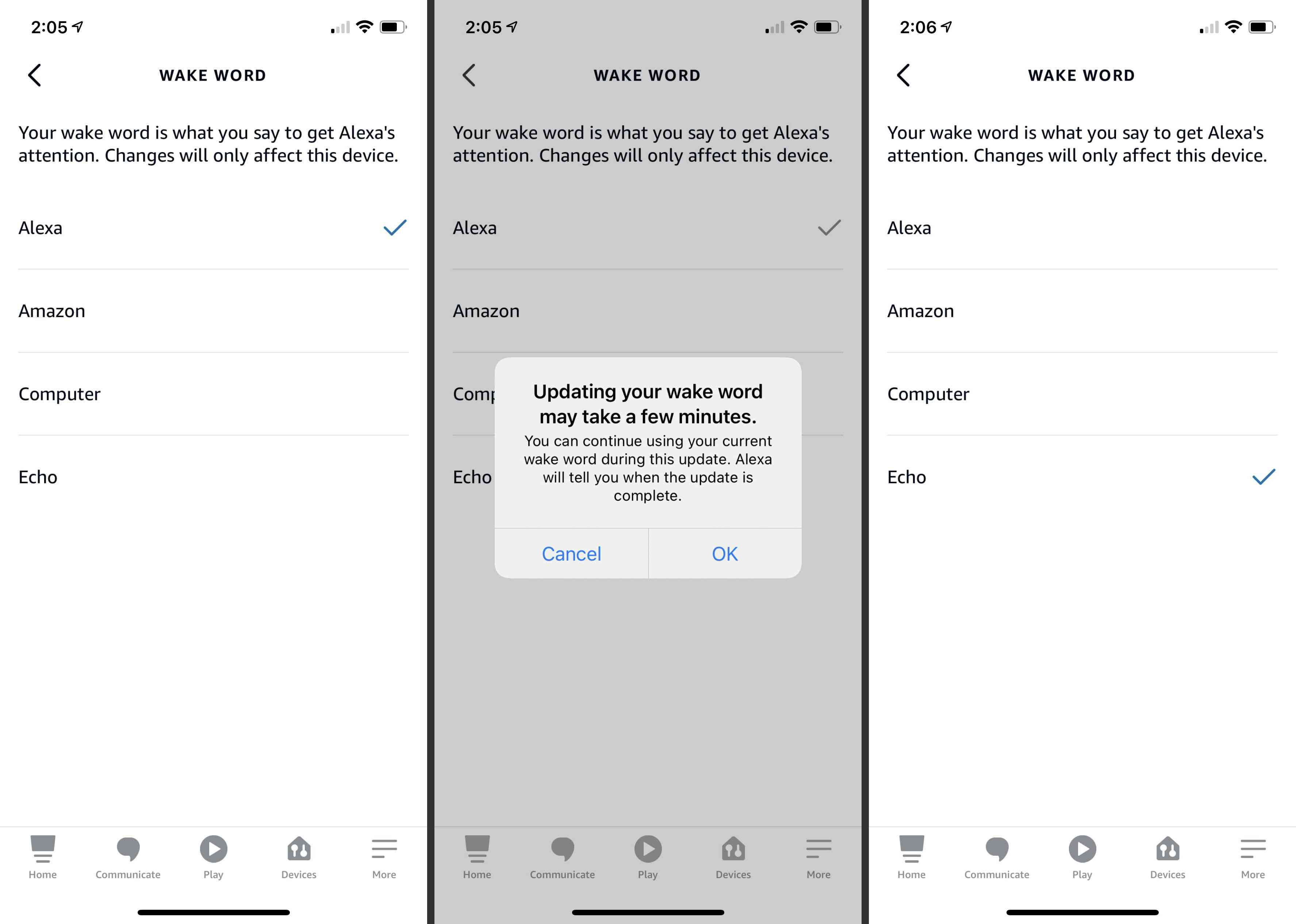Steps to change the Alexa wake work from Alexa to Echo on the Alexa mobile app.