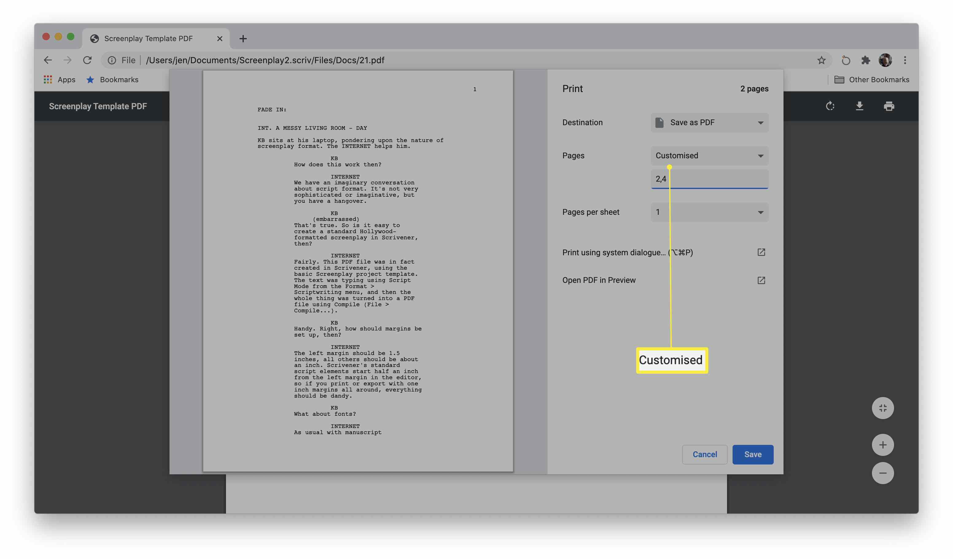 Google Chrome with pages highlighted under the print dialog