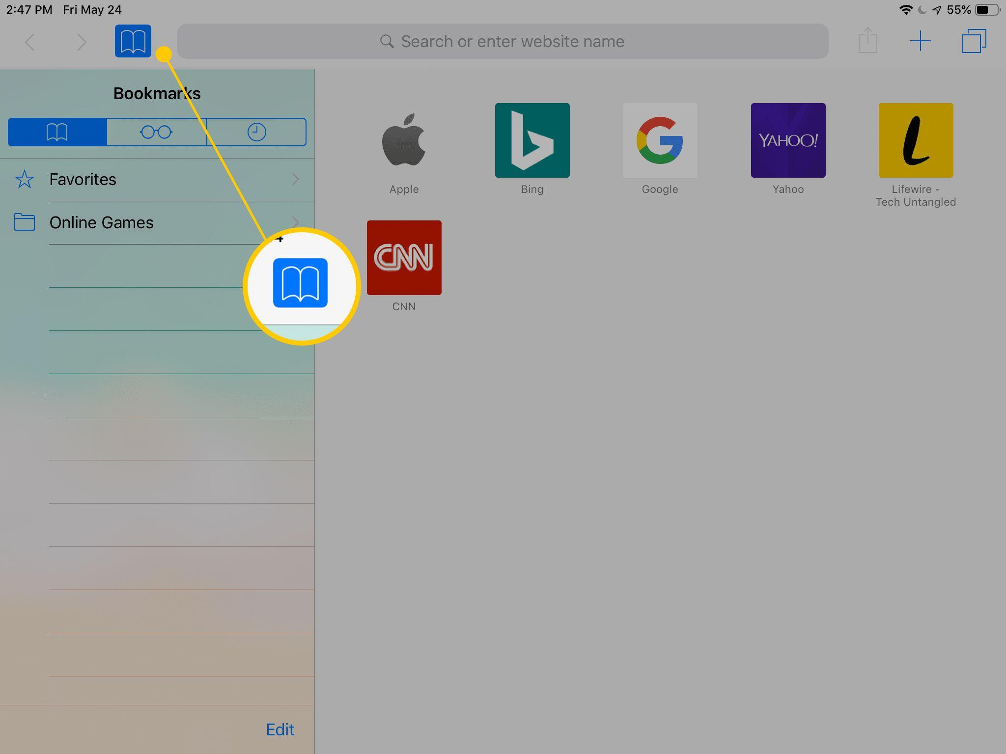 Bookmarks button in Safari for iPad