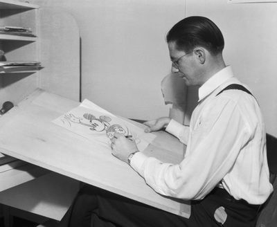 Animator Drawing Mickey Mouse at Disney Studios