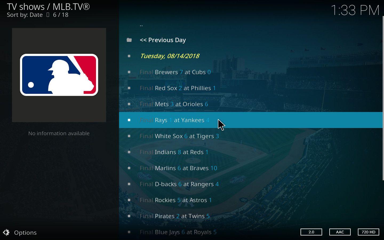 MLB Kodi Add-on