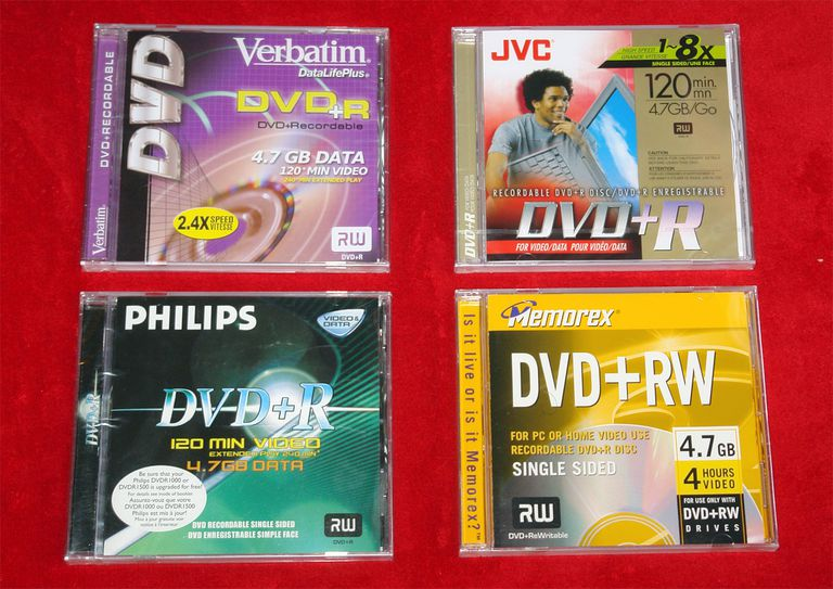 Different kinds of blank recordable DVDs