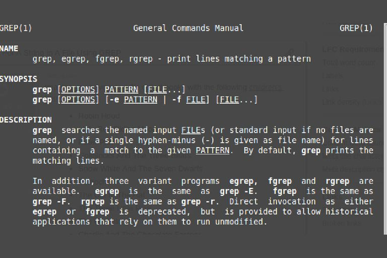 The Linux grep Command manual screenshot