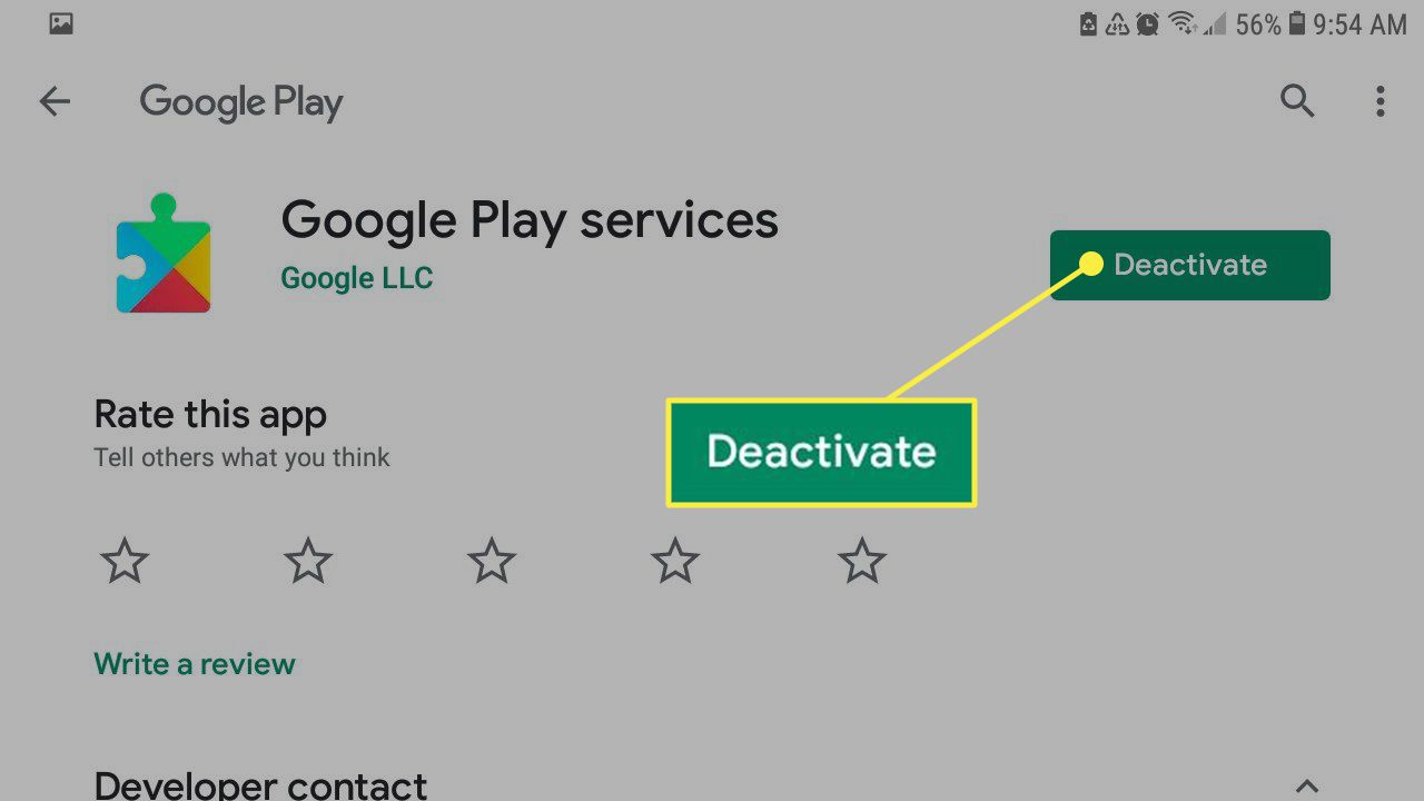 The Deactivate button in Google Play