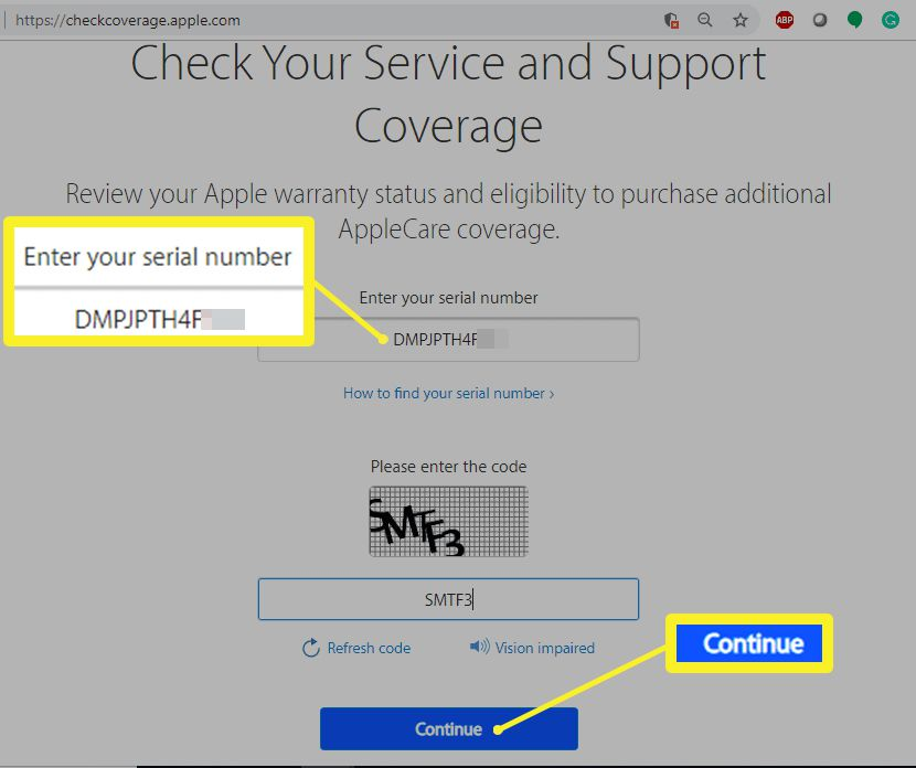 Apple warranty status and support coverage website.
