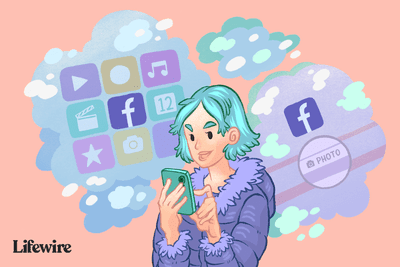 Illustration of a person adding photos to Facebook on a smartphone