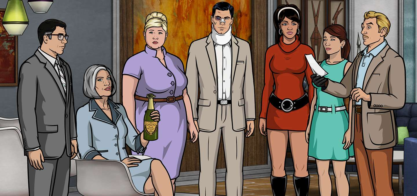 The animated cast of 'Archer' conduct a meeting inside ISIS.