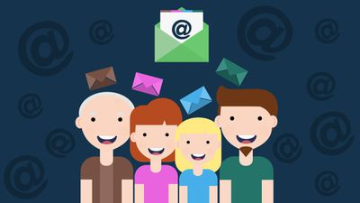 Graphic of young and old people happy to receive an email