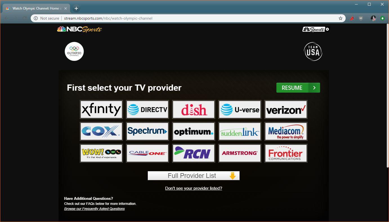 A screenshot of TV providers on NBC Sports.