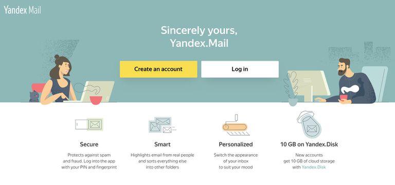Screenshot of Yandex Mail website