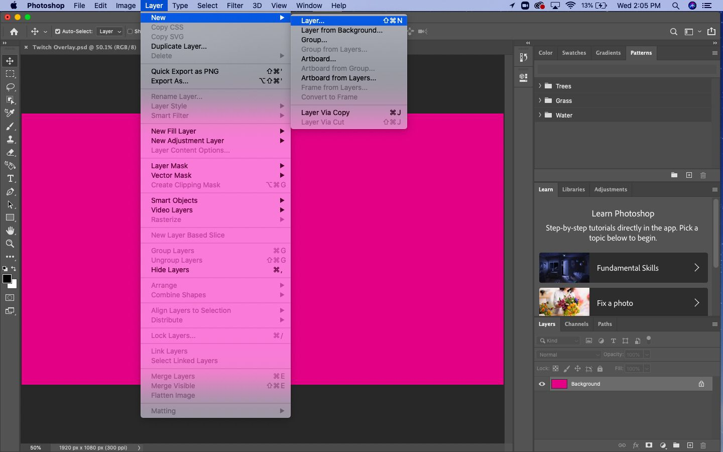 From the top menu, select Layer > New > Layer.