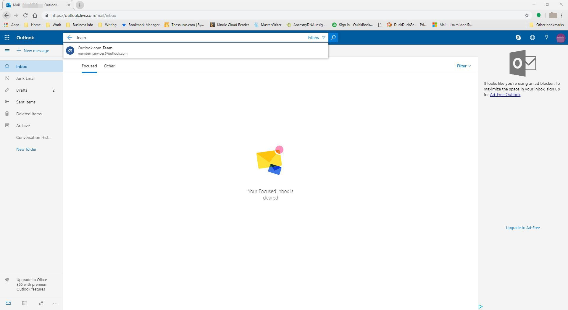 Searching for an email using a keyword in Outlook.com