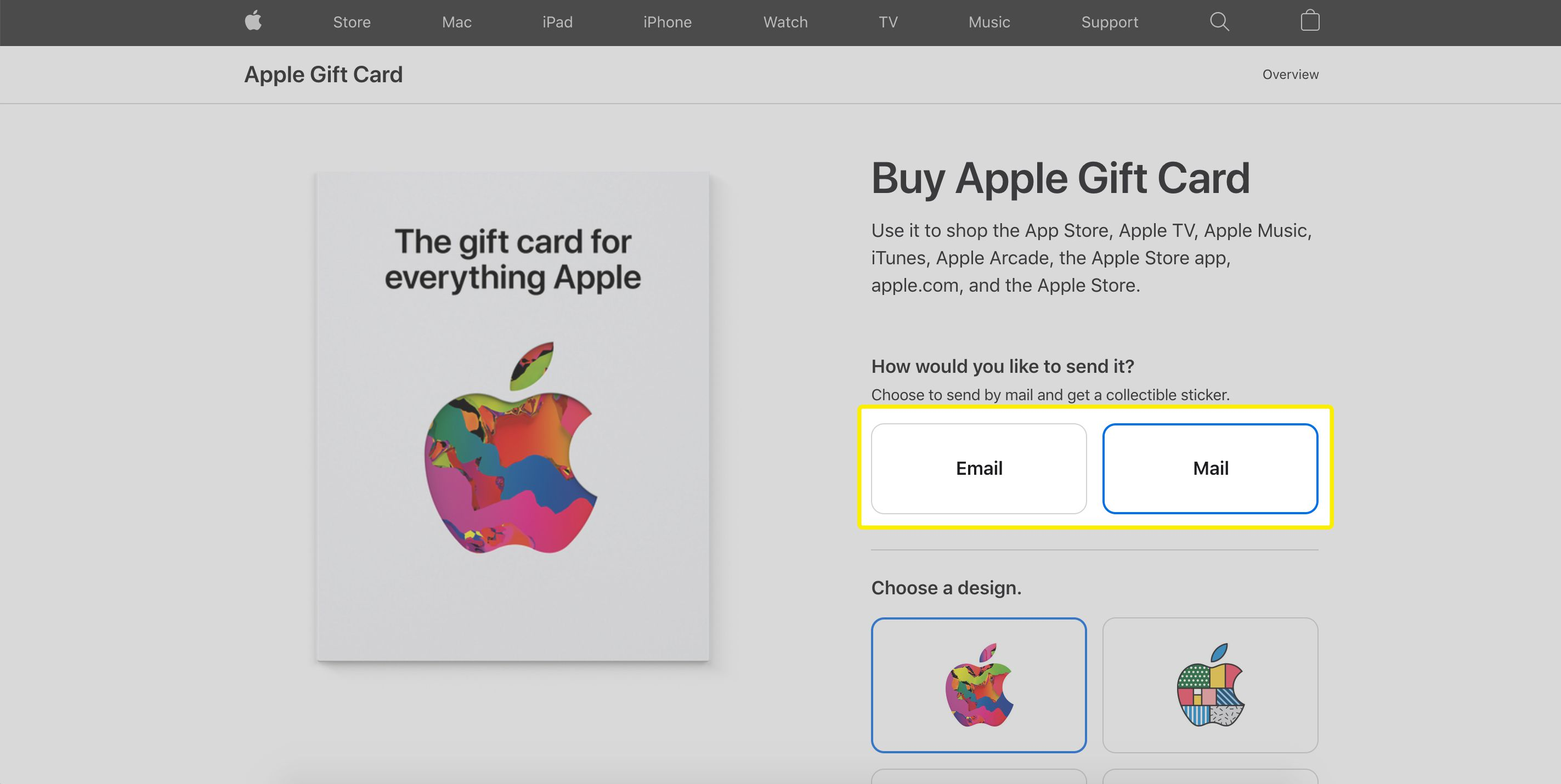 Apple gift card email or mail