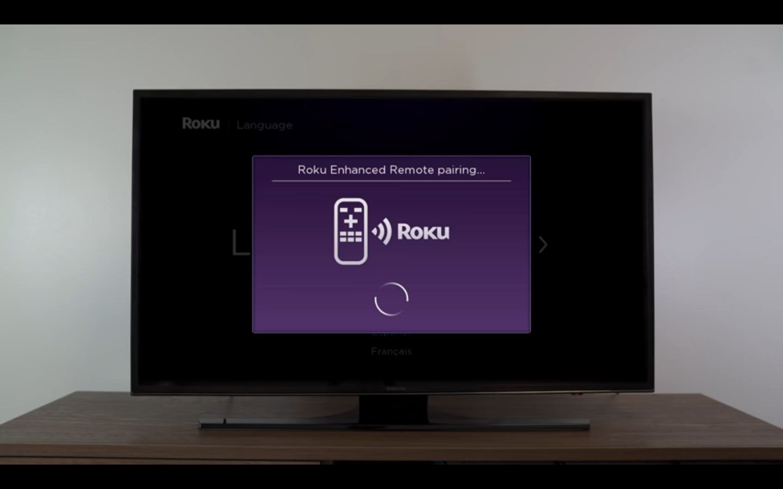 Roku pairing screen on a TV