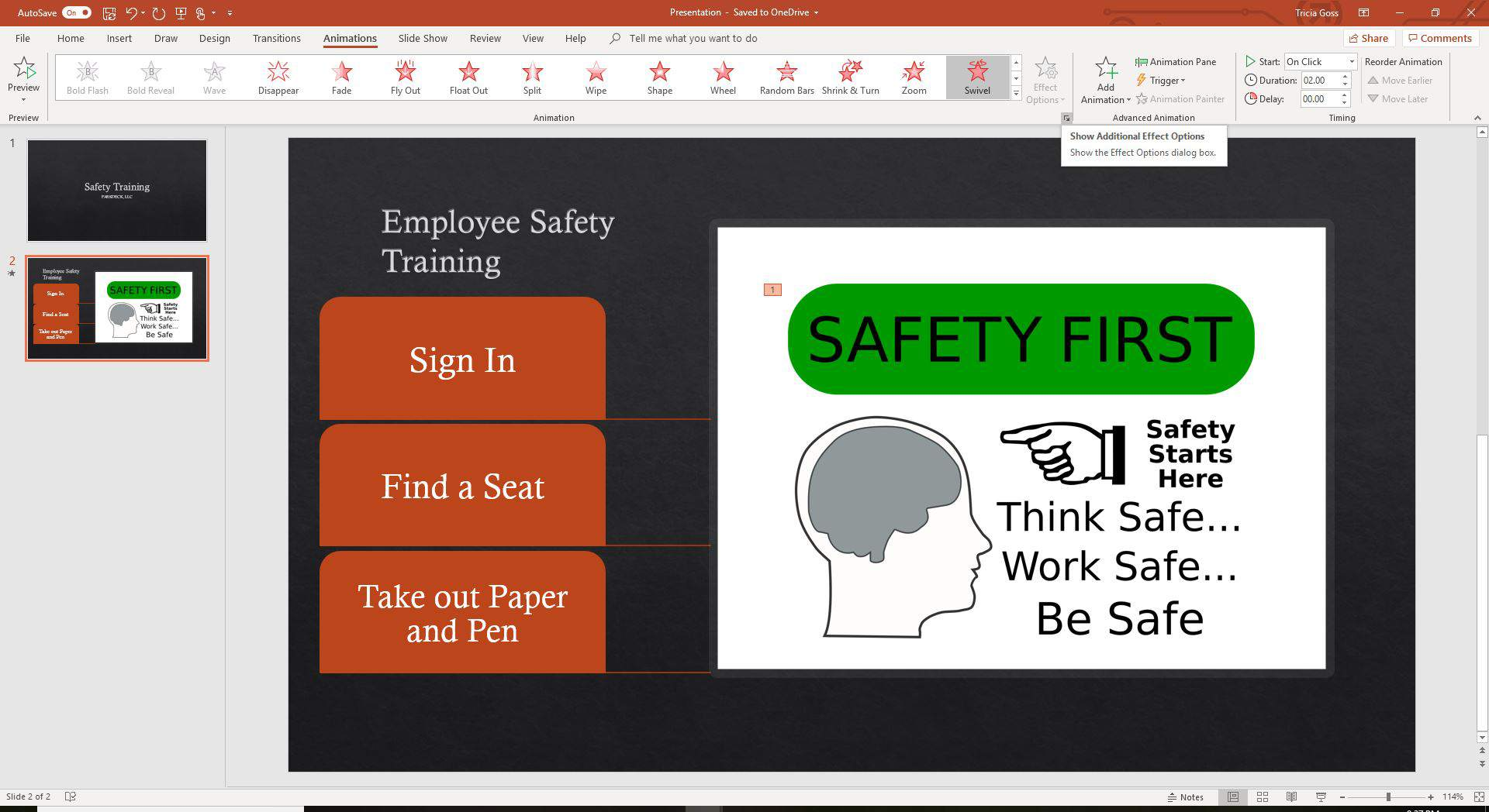 A screenshot showing the Show Additional Effect Options in PowerPoint.