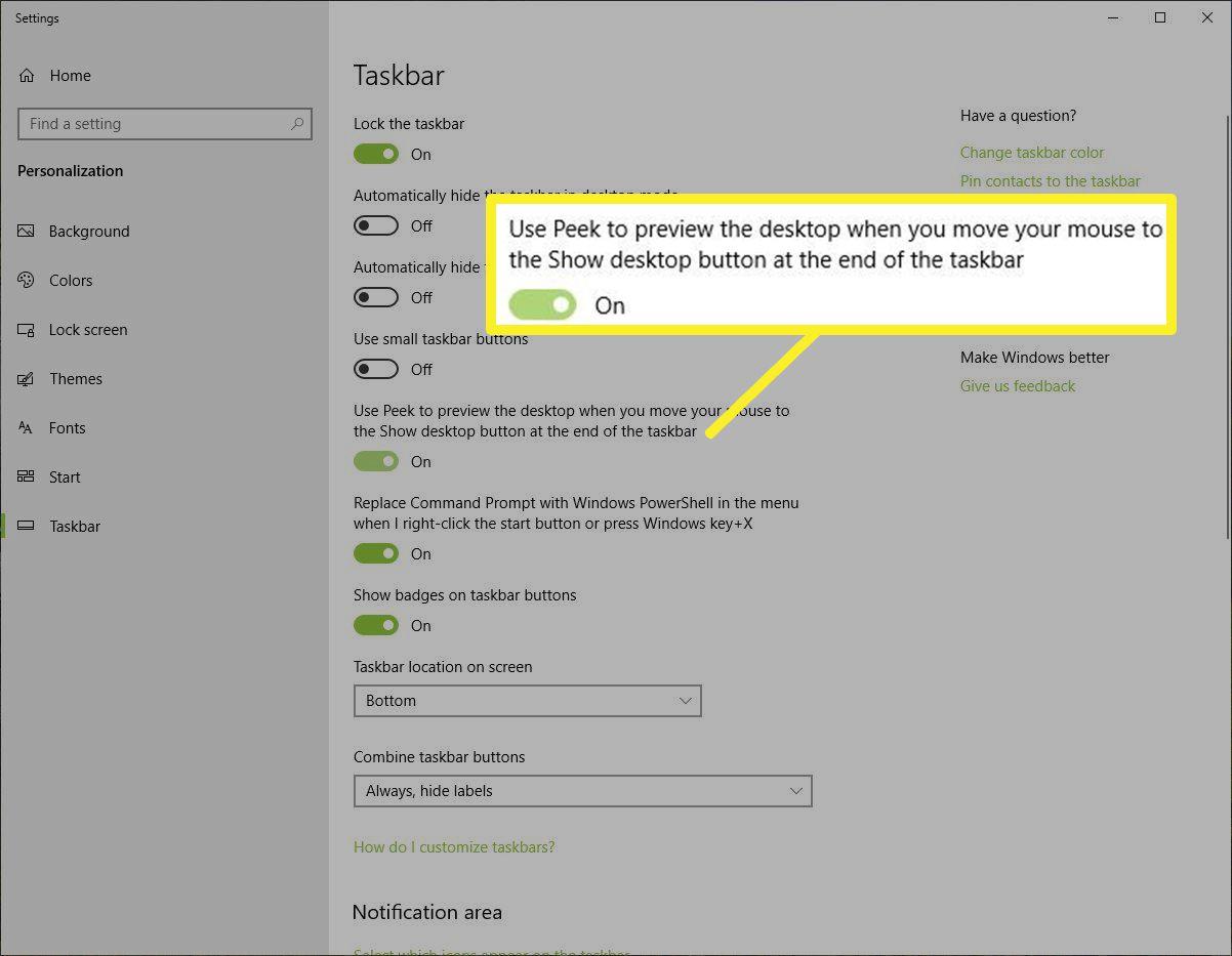 Peek toggle in Taskbar settings