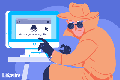 Person in trench coat and hat using Incognito mode on their computer