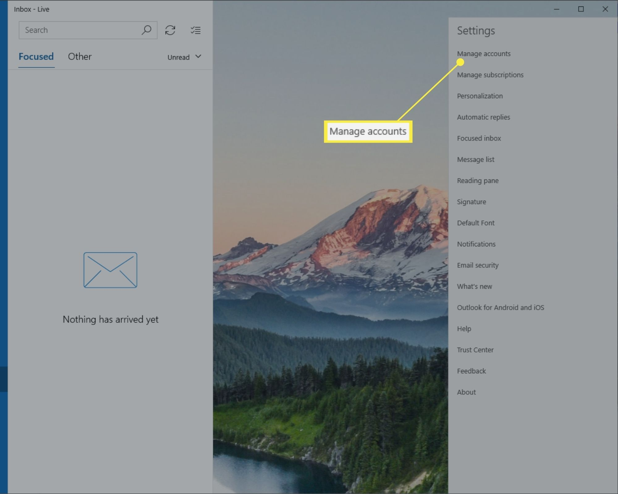 Manage accounts in Windows 10 Mail Settings.