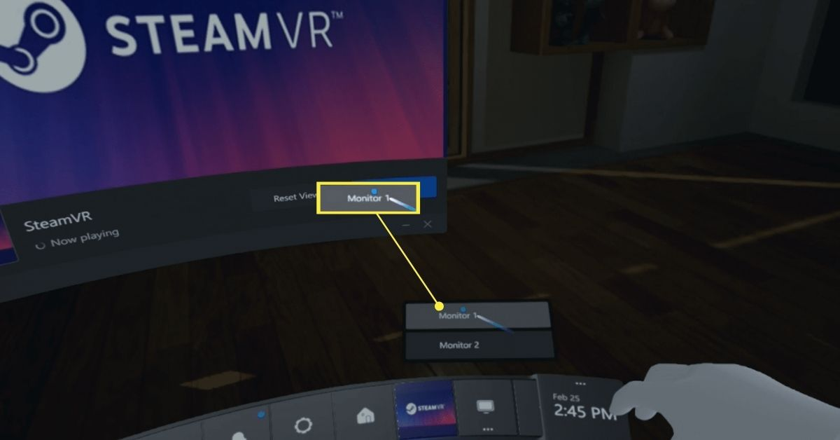 Selecting a monitor for the virtual desktop in Steam VR.