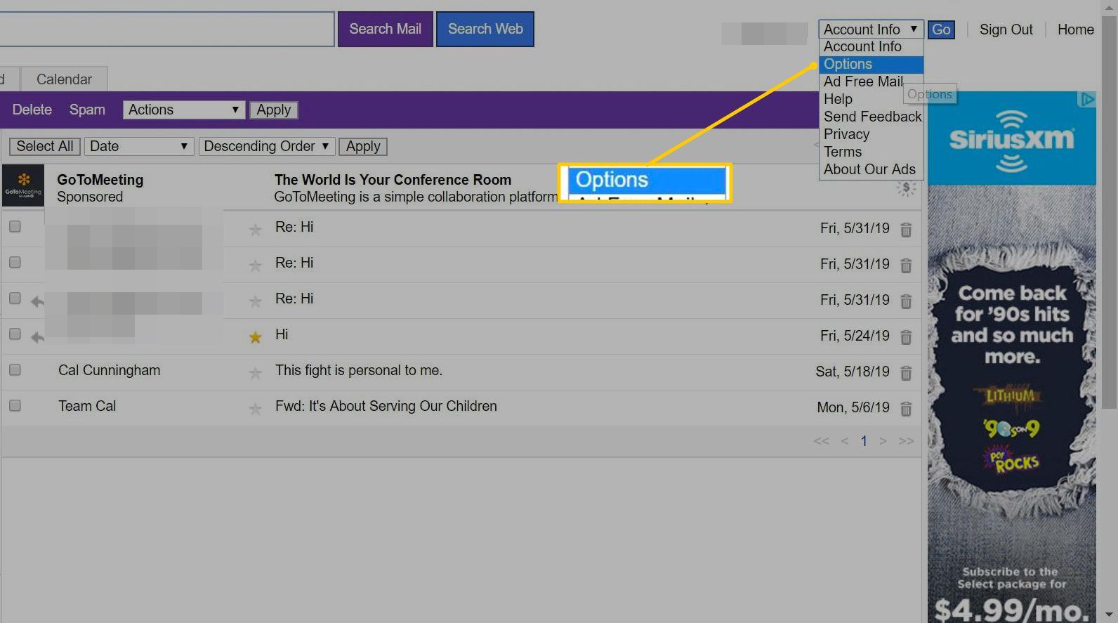 Options in Account Info menu