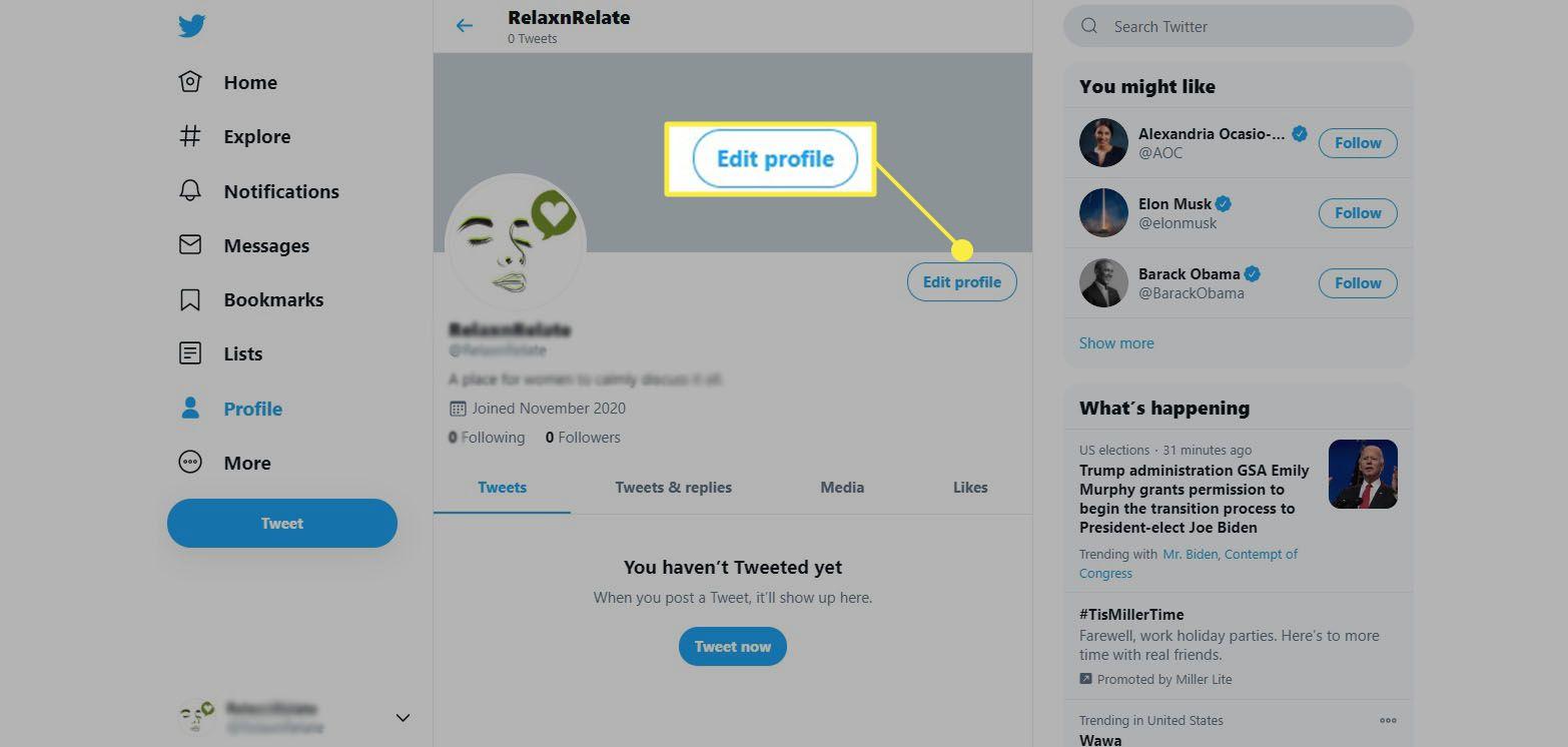 Twitter - click Edit Profile