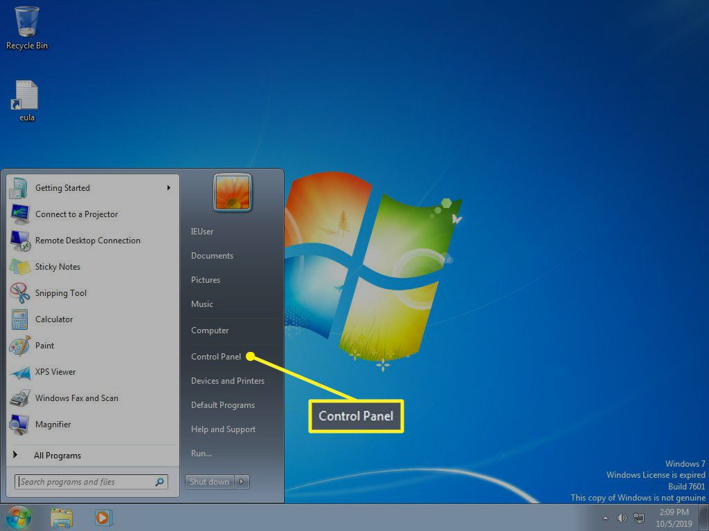 Windows 7 Start menu with Control Panel selected