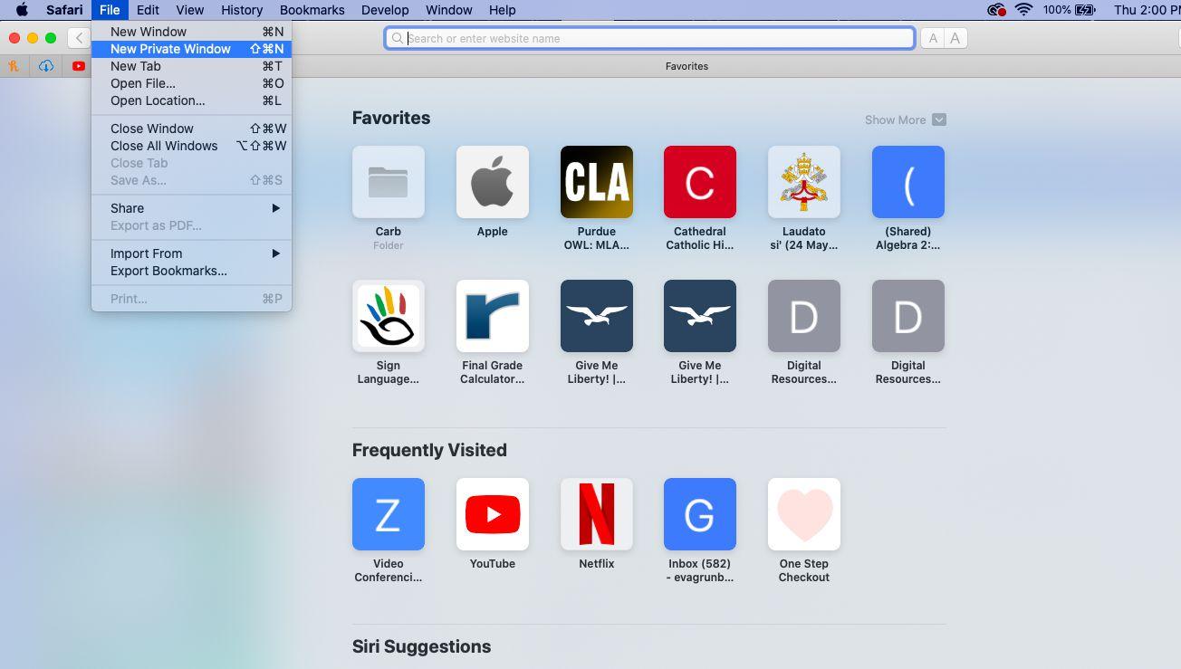 Enter Private Browsing mode in Safari on a Mac