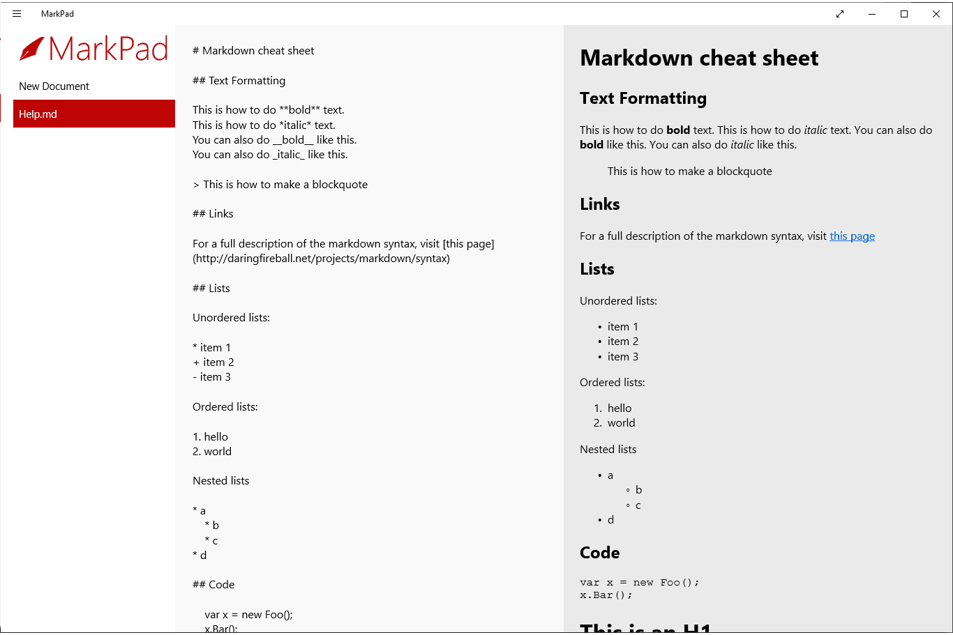 MD file open in MarkPad in Windows 10