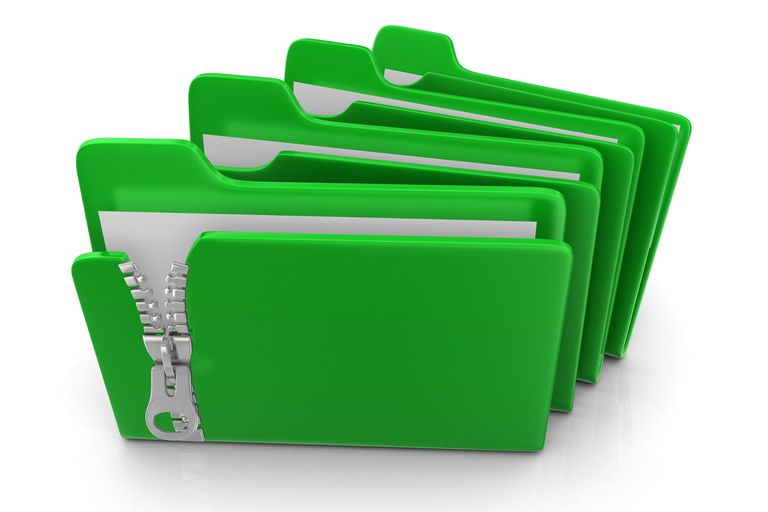 Illustration of a green zip file
