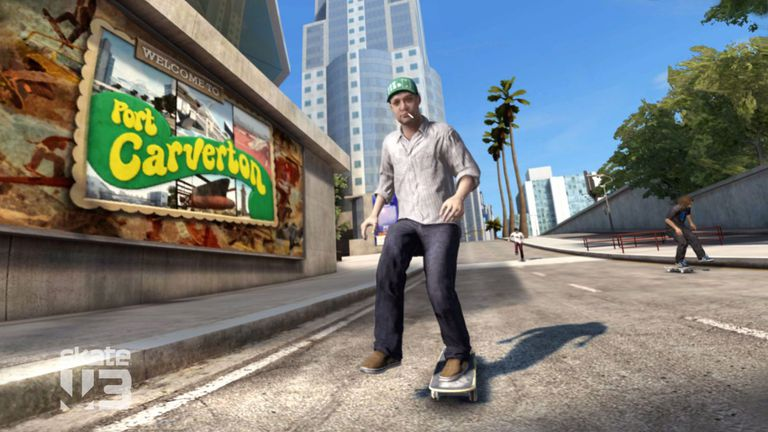 Character on skateboard from Skate 3