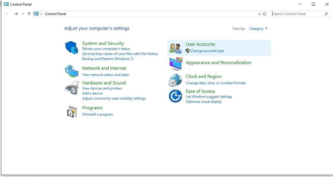 Screenshot showing the Control Panel