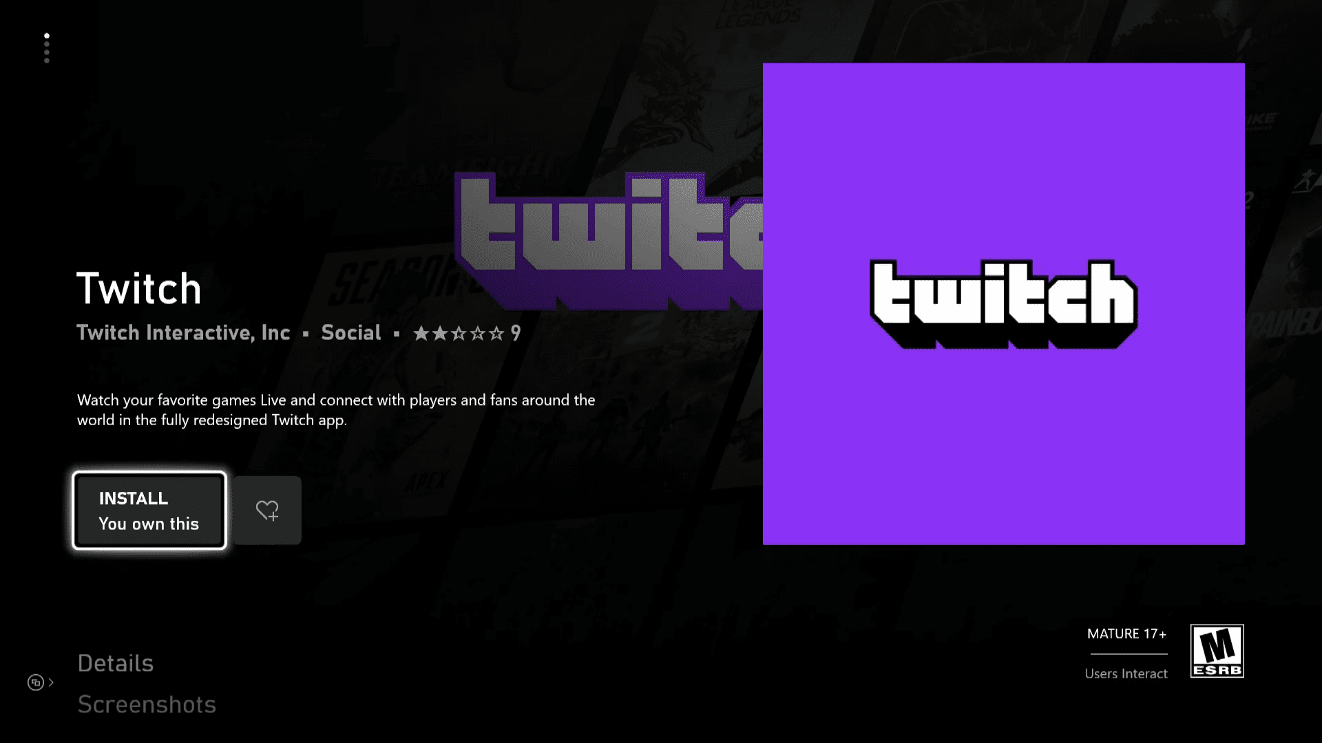 Twitch in the Xbox Series X S Store.