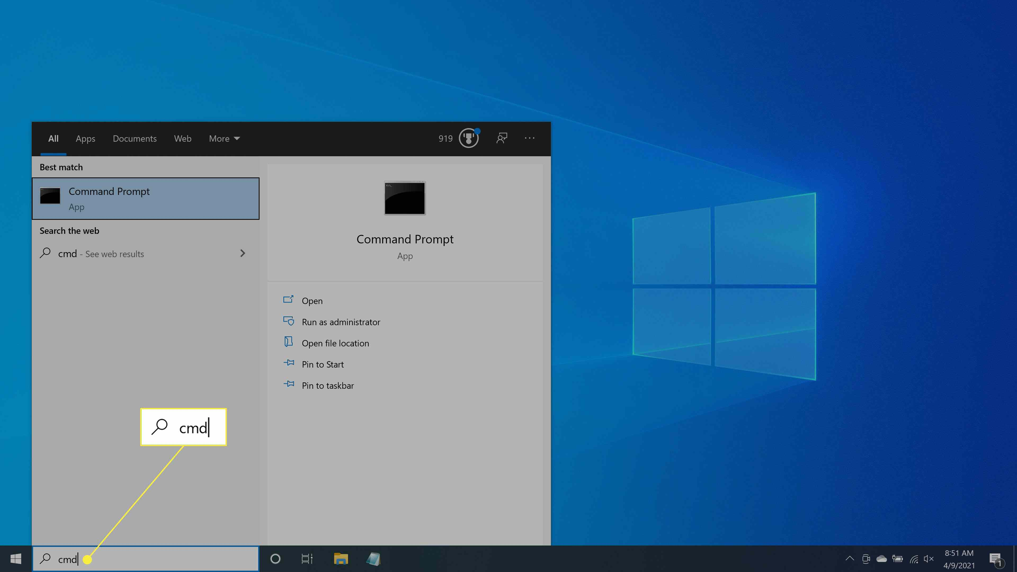 Searching for the Command Prompt in Windows 10.