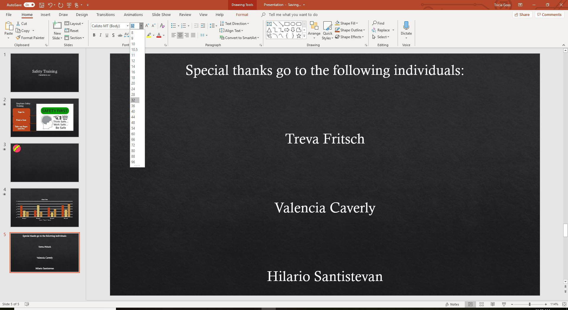 A screenshot of resizing text for PowerPoint credits.