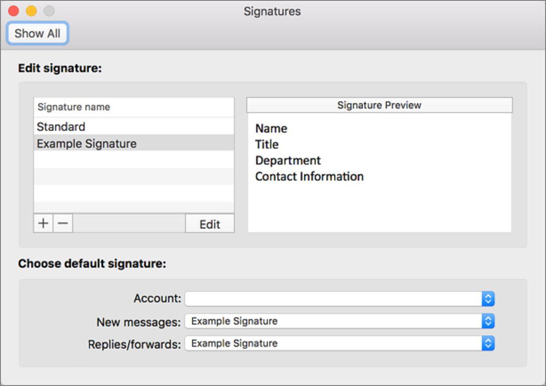 Screenshot of Edit Signature
