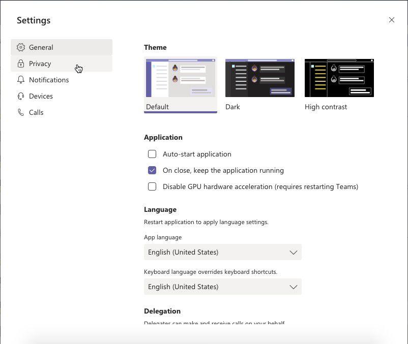 The Microsoft Teams Settings dialog