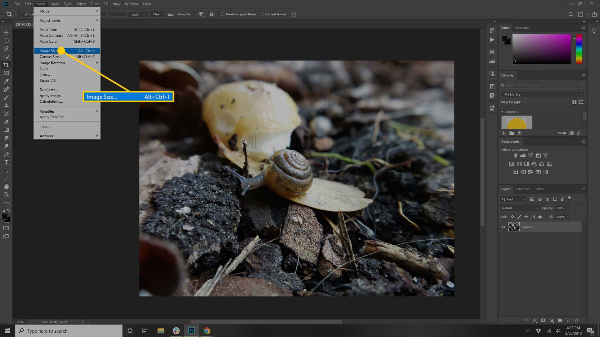 The Image Size option in Photoshop.